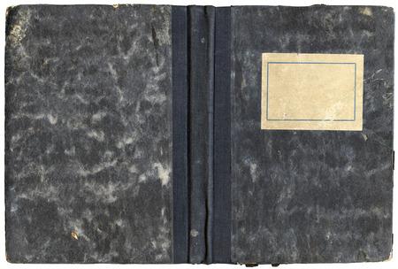 Journal Vintage ouvert ou le couvercle de l'ordinateur portable avec une �tiquette vide et grungy surface - isol� sur blanc