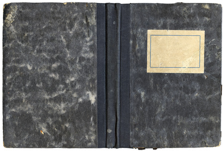 open diary: Vintage open diary or notebook cover with empty label and grungy surface - isolated on white