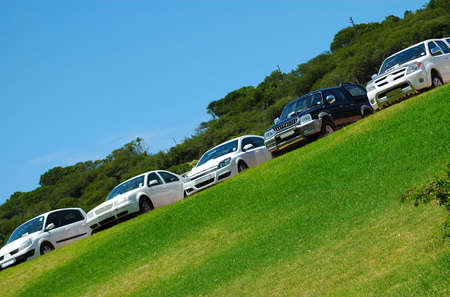 Five cars parked on the lawn in sunshine