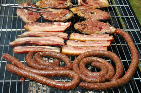 barbecues: Grilled pork meat, lamb chops and sausages on a grill for a barbecue (South African Braai) outdoors in South Africa Stock Photo