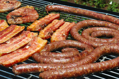 barbecues: Delicious grilled meat (lamb chops) on a grill for barbecue (South African Braai) in the garden in summertime