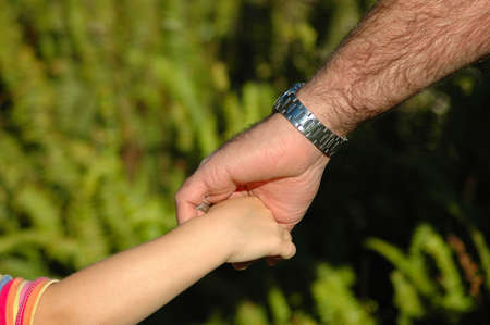 White hands of caucasian father and child holding hands while walking together in the park outdoors  photo