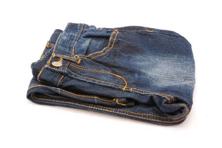 washed out: A folded washed out blue denim isolated on white background