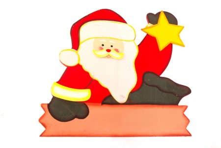 A handmade wooden colorful painted sign of a Santa Claus isolated on white background. Stock Photo - 3270091