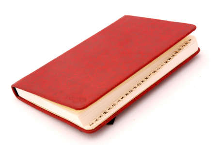 directory book: A red directory book with capital letters isolated on white background