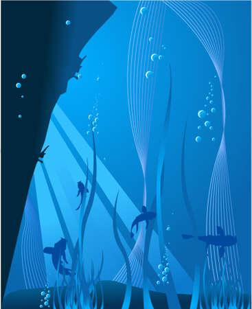 agachado: Profundo mar azul: bajo el fondo  Foto de archivo