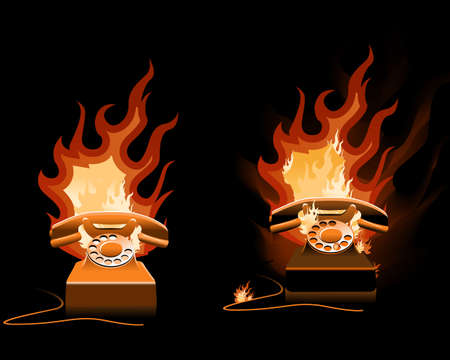 toll free: Hot Line - Burning Telephone on the black background Stock Photo