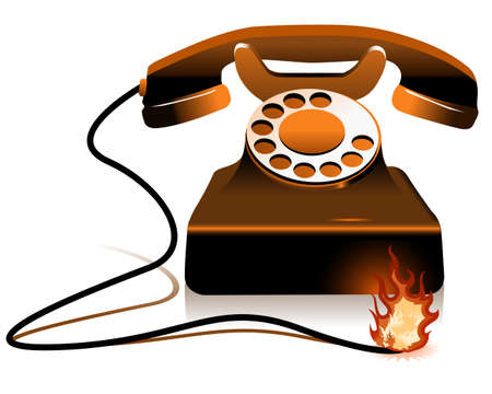 toll free: Hot Line - Burning Telephone on the white background Stock Photo