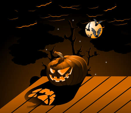 Halloween Pumpkin with burning eyes photo