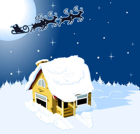 House in snow on the Christmas background Vector