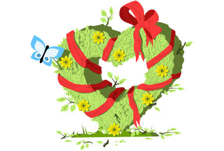 Heart shaped Bush with ribbon and bow Vector