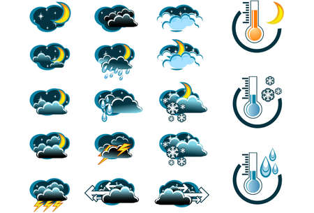 weerbericht: Weersvoorspelling vector icone set (nacht) en Thermometers