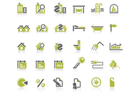 icone immobilier: Ensemble dic�ne de immobiliers Illustration