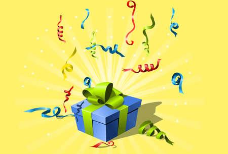 parade confetti: Confeti que volaba y caja de regalo con lazo  Vectores