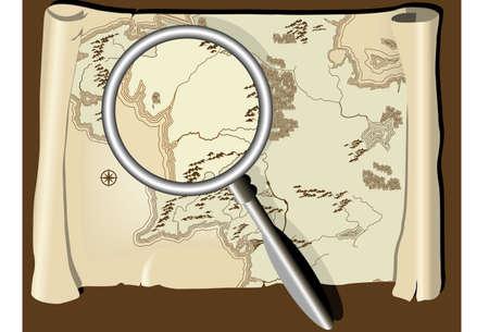 mapa de procesos: Antiguo mapa con lupa  Vectores