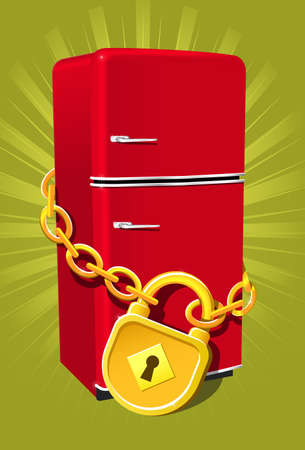 shackle: Refrigerator with chain and lock - diet symbol Illustration