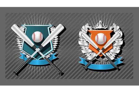 chrome base: Baseball vuoto emblema modello con bat, corona e nastro  Vettoriali