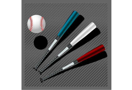 Baseball club - Three isolated Baseball bats and ball Vector