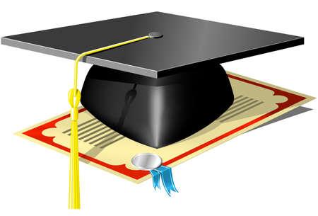 Graduation Mortar Board and diploma with seal and ribbon