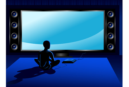 Boy playing coumputer game console in front of tv set Vector