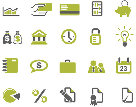 Banks and business icons set Vector