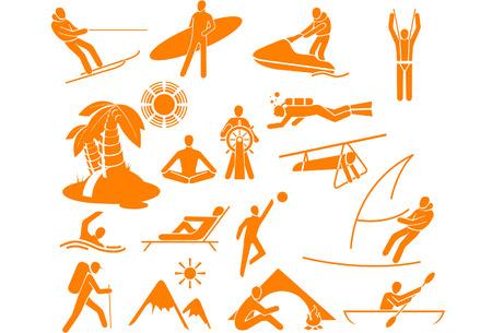 canoa: Tipos de descanso y vacaciones - 17 iconos