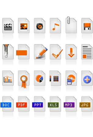 24 file icons of different file format Stock Vector - 2921071