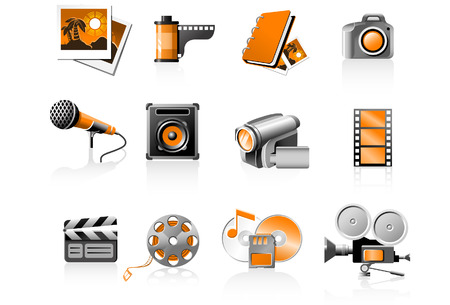 Multimedia icons set - photo and video Vector