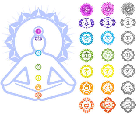 vishuddha: Seven Chakras  and spirituality symbols Illustration