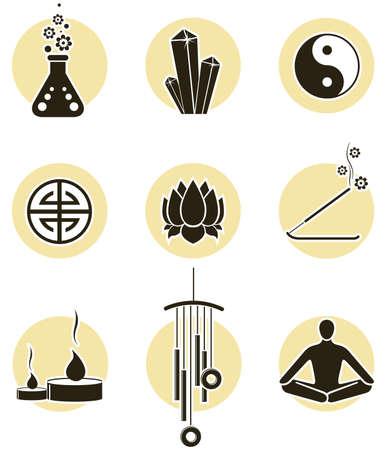 music therapy: Espiritualidad icono conjunto  Vectores