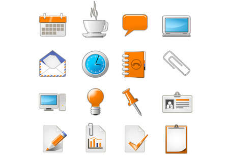 Web page or office theme icon set Illustration