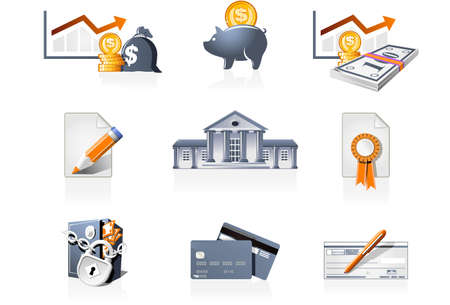 stockmarket: Bank, finances and stock-market icons Illustration