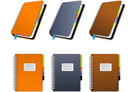 cuaderno espiral: Bloc de notas de espiral en tres colores diferentes  Vectores