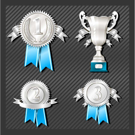 greatest: Sport Medals of the first, second and third place with cup