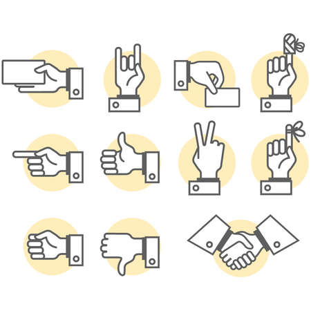 Simbolic hand and fingers signs in vector