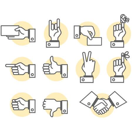 mani legate: Simbolic mano e delle dita segni di cui vettore  Vettoriali