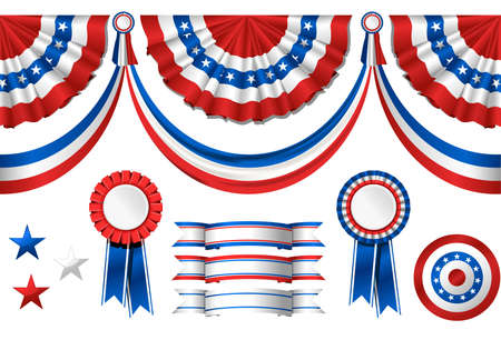 political rally: National American symbolics - flag and awards
