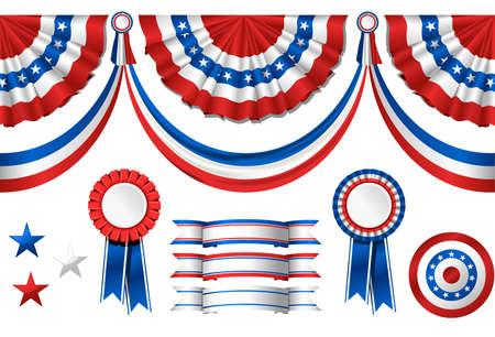 political rally: Nazionale americana symbolics - bandiera e premi