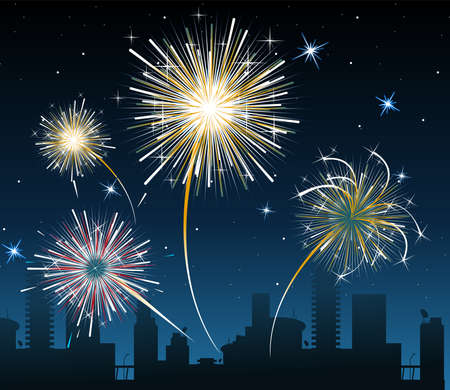 Fireworks over the city Stock Vector - 3090138