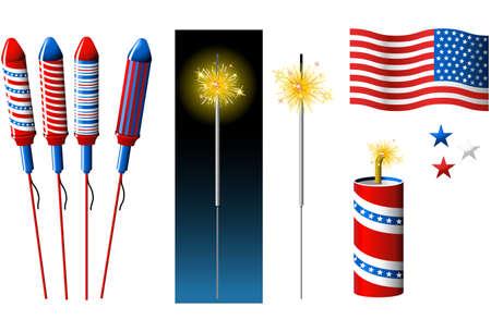 sparkler: Vector Fireworks, sparkler and American flag