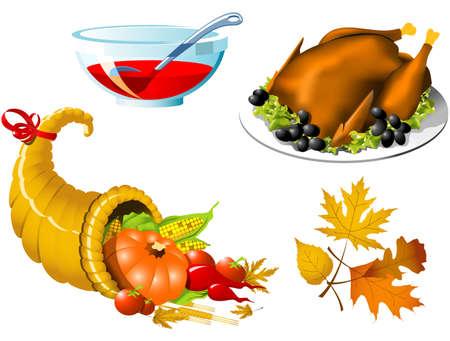 Thanksgiving Symbols icon set - four elements Vector