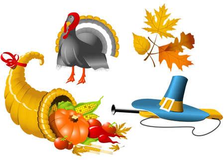 thanksgiving feast: Thanksgiving Symbols icon set - four elements