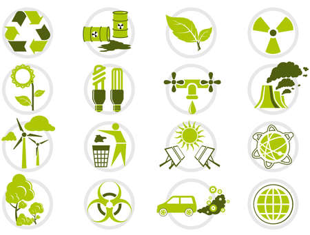 nuclear energy: Energy saving and environmental protection icon set