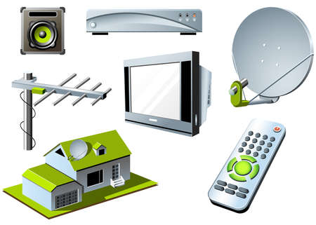 satellite tv: TV system - remote control, tv set and satellite