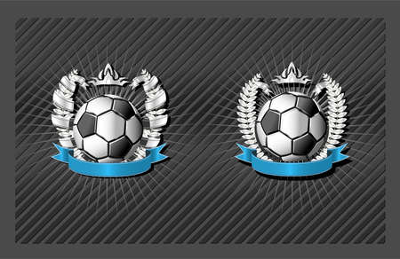 Blank Soccer emblem template with wreath and ribbon Vector