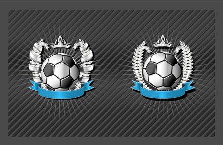 entwine: Calcio vuoto emblema modello con corona e il nastro