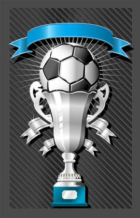 Soccer (football) ball and cup with ribbon Stock Vector - 3113303
