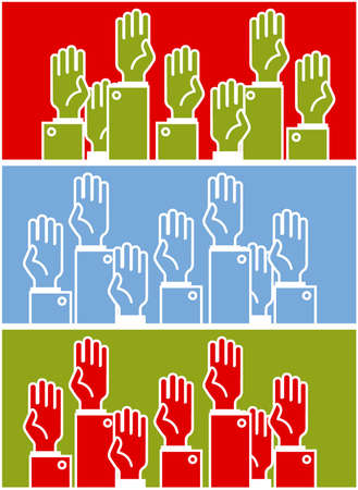 rally finger: Voting group of people - symbolic humans hands Illustration