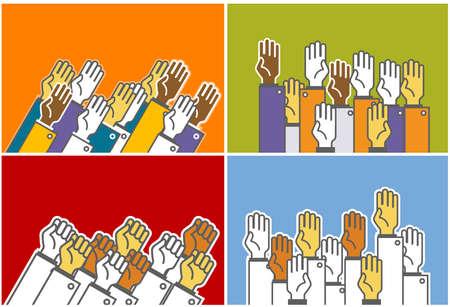 demografico: Votaci�n grupo de personas - simb�licos humanos las manos