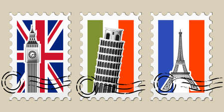 Three Postmarks with sights of Europe and stamps Vector
